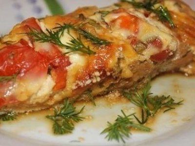 Цыплята с сыром и помидорами в духовке